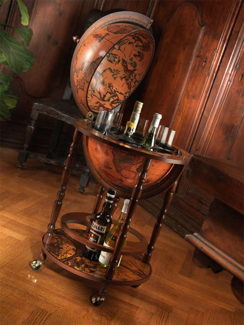 Mobile Minerva floor globe drinks cabinet - studio photo open, classic color