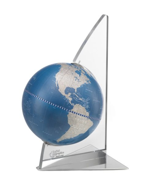 Floating Vela small desk globe - metallic blue, product photo