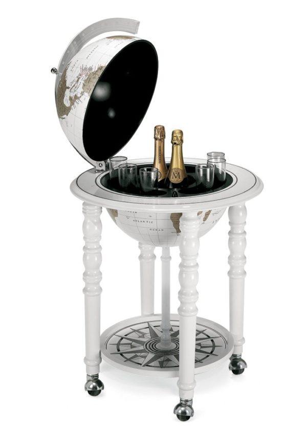 Designer Elegance modern world globe bar - white, product photo