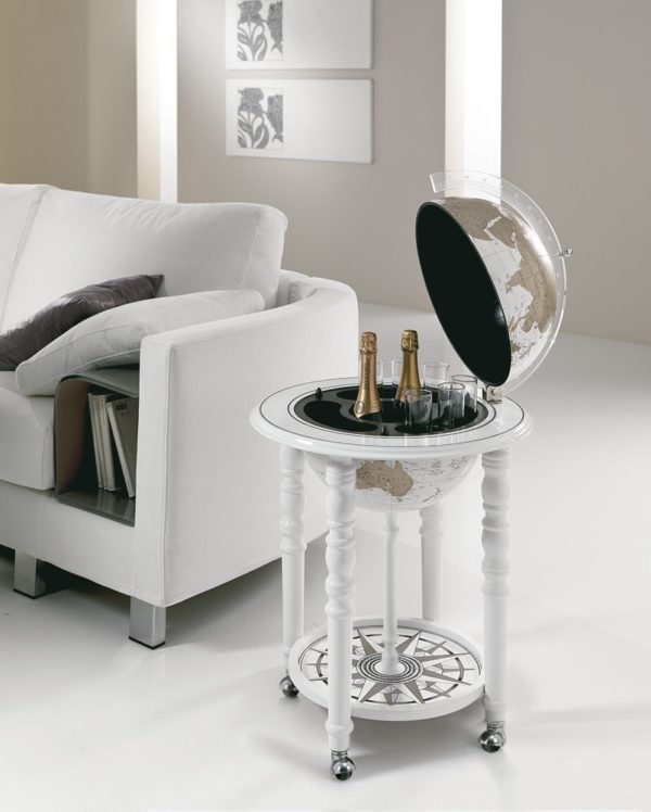 Designer Elegance modern globe bar - white, studio photo