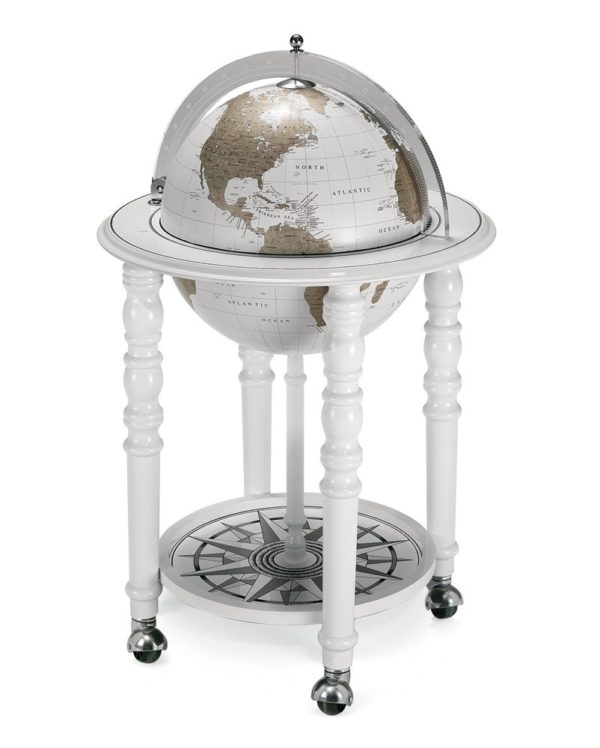 Designer Elegance modern globe bar - white, closed photo