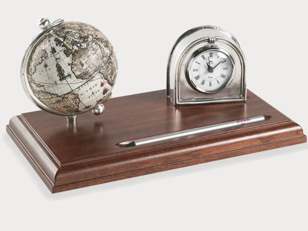 Pewter desk clock with 16th century globe - product image