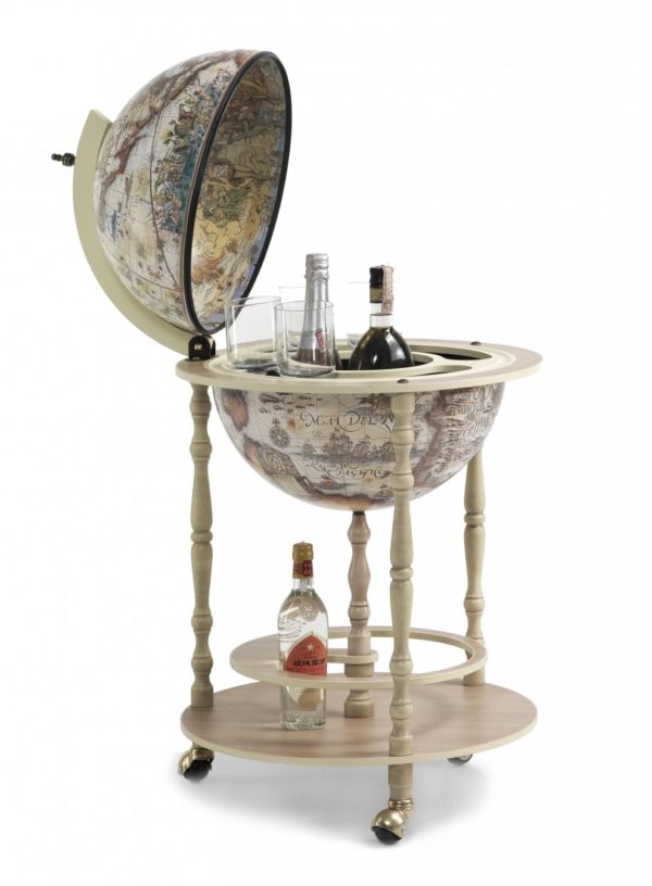 Tucano ivory white globe bar cabinet - product photo