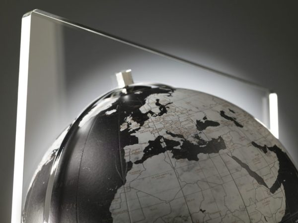 Studio photo of black Italian Aria desk globe.