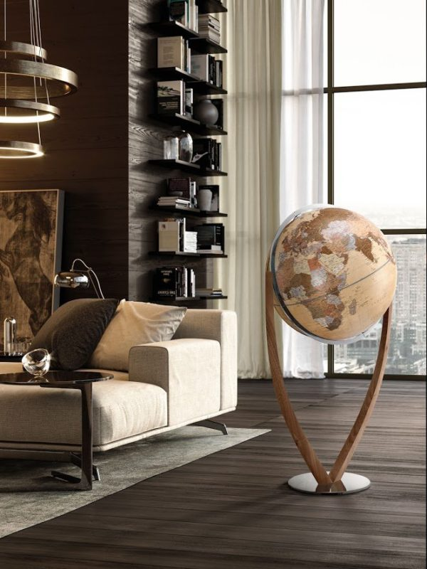 Studio photo of the Versus extra large contemporary world globe with modern map.