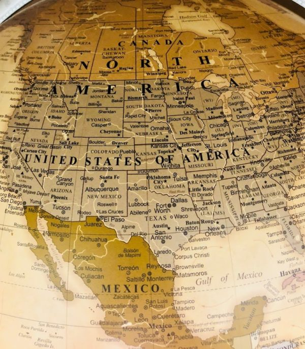 Close-up photo of the USA on world map of the Versus extra large contemporary world globe.
