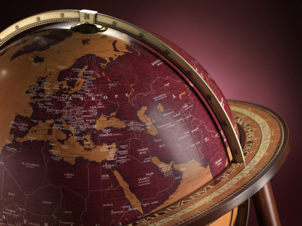 Studio photo for the Gea Aries Extra Large Current World Globe - top view
