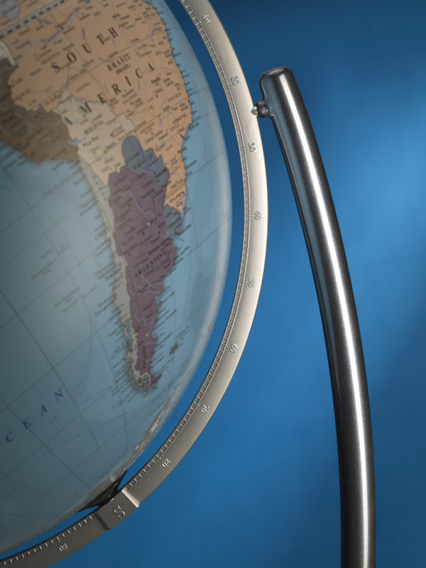Colombo extra large political world globe - blue, side closeup