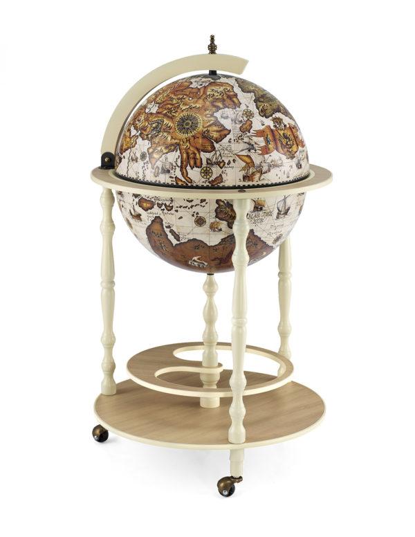 Tucano ivory white globe bar cabinet - product photo - closed