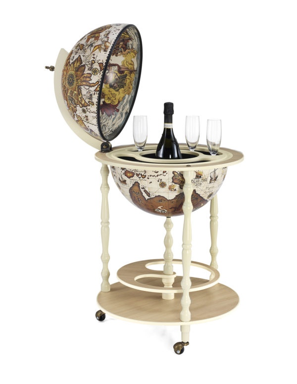 Tucano ivory white globe bar cabinet - product photo - open