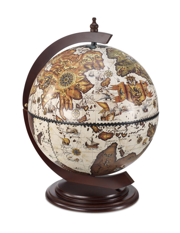 Sfera Small desk top bar globe cabinet - ivory, product photo - closed