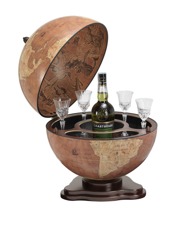 Galileo table top globe bar - rust, product photo - open