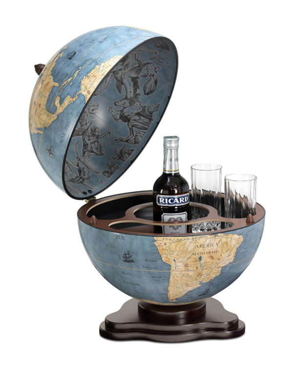Galileo table top globe bar - blue dust, product photo - open