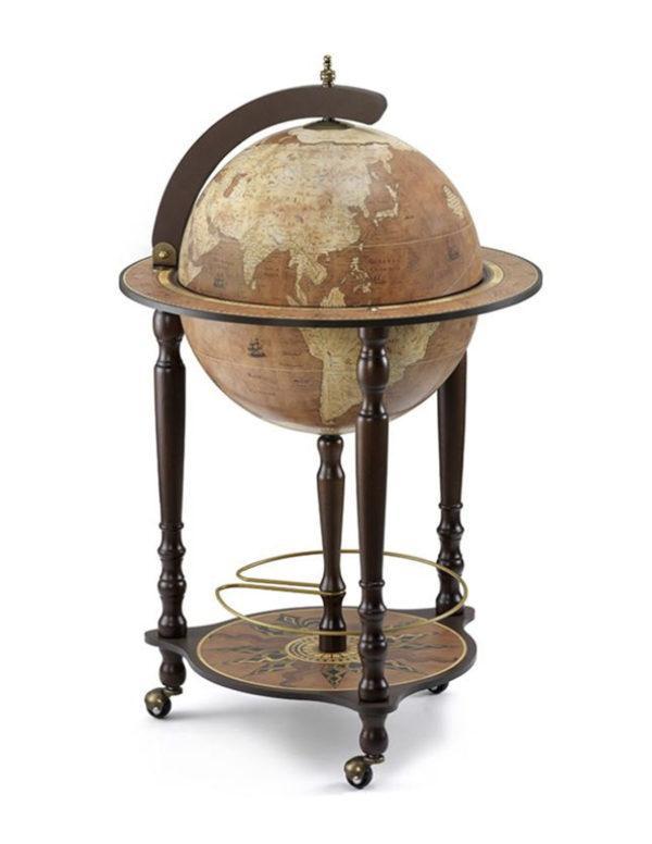 Da Vinci floor globe drinks cabinet - rust, closed, product photo