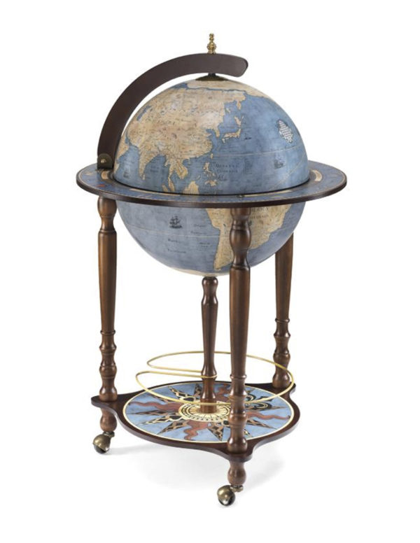 Da Vinci floor globe drinks cabinet - blue dust, closed, product photo
