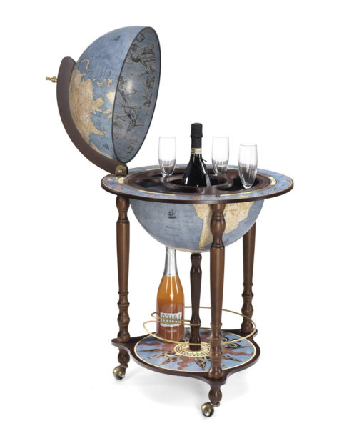 Da Vinci floor globe drinks cabinet - blue dust, open, product photo