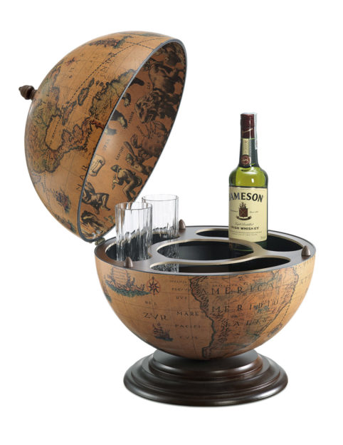 Fine Vintage table top bar globe - classic, product photo - open