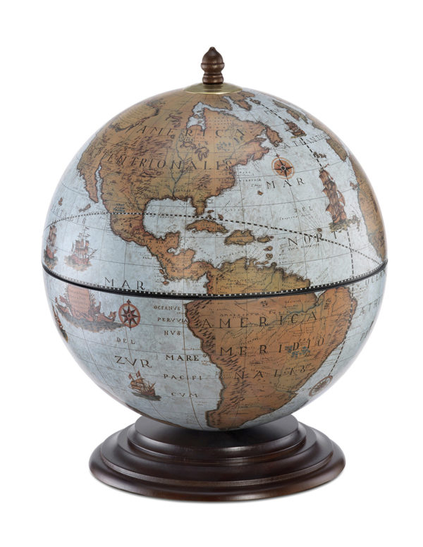 Fine Vintage table top bar globe - blue ocean, product photo - closed