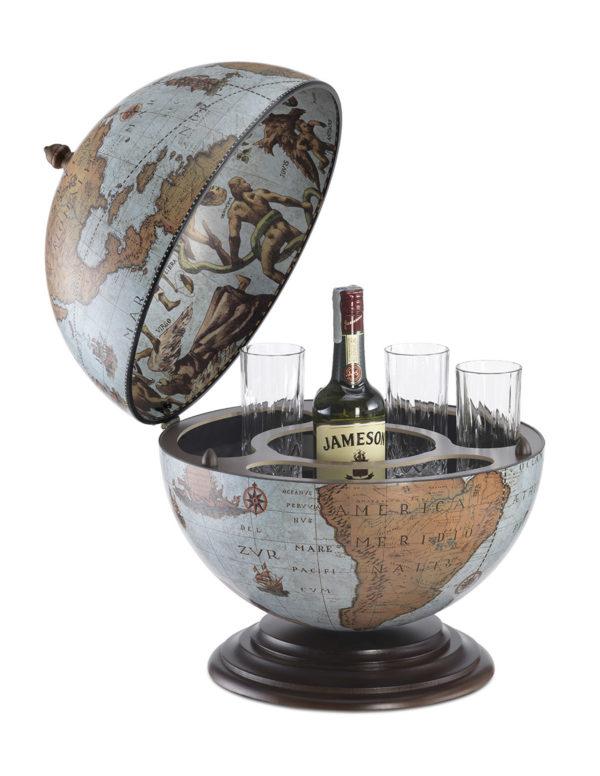 Fine Vintage table top bar globe - blue ocean, product photo - open