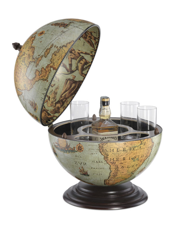 Fine Vintage table top bar globe - laguna, product photo - open