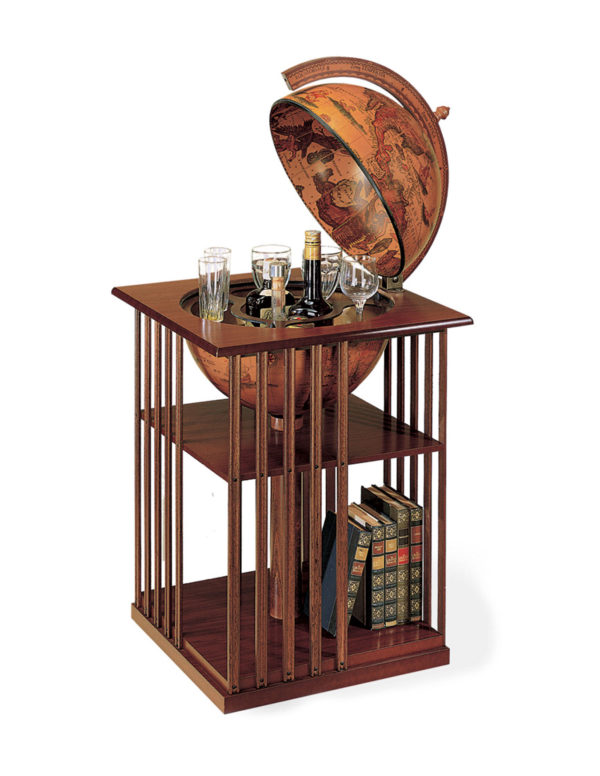 Catalog photo of the Corner Floor Globe Bar & Bookcase - open