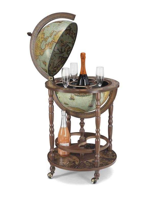Mobile Minerva floor globe drinks cabinet - product photo, laguna color