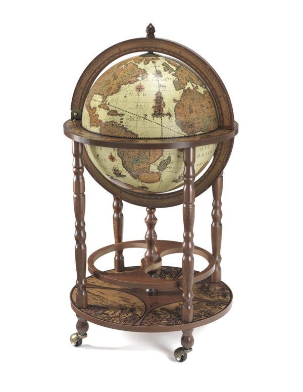 Mobile Minerva floor globe drinks cabinet - product photo - closed, safari color