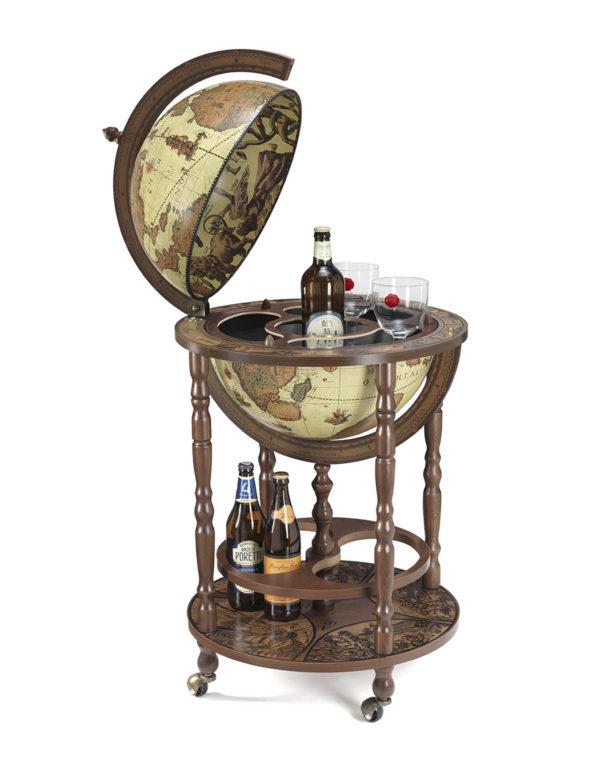 Mobile Minerva floor globe drinks cabinet - product photo, safari color