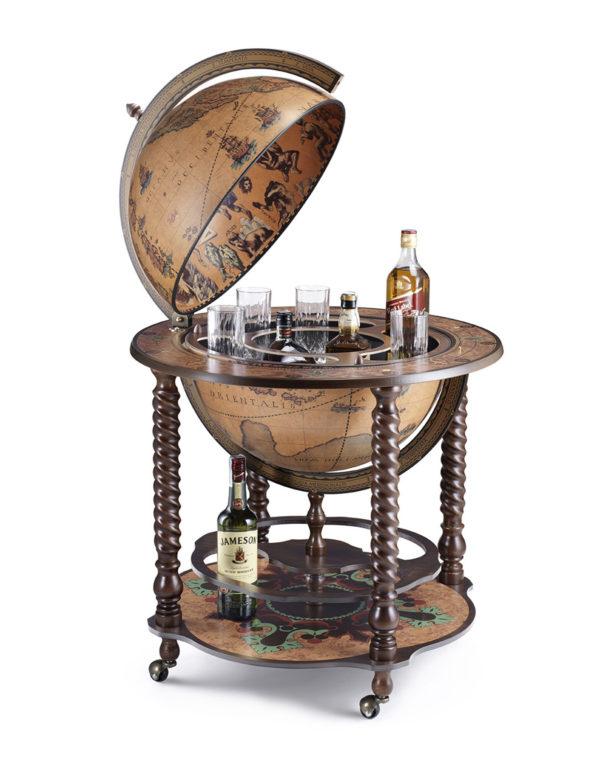 Catalog photo of the Noble Bacco spiral leg globe bar - open