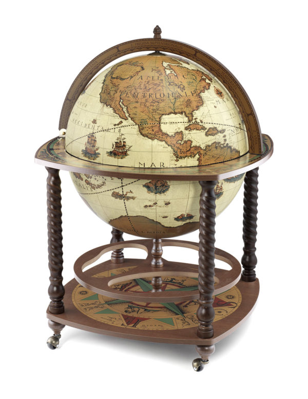 Caronte extra large globe bar cabinet - safari, closed view, product photo
