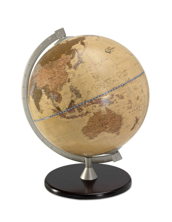 Photo of apricot colored James Cook desk globe