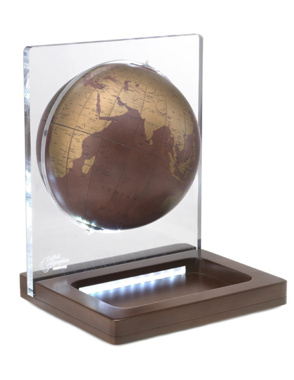 Product photo for the Italian Aria Leather Globe & Light