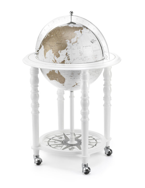 Image of Designer Elegance modern globe bar - white, product photo - closed