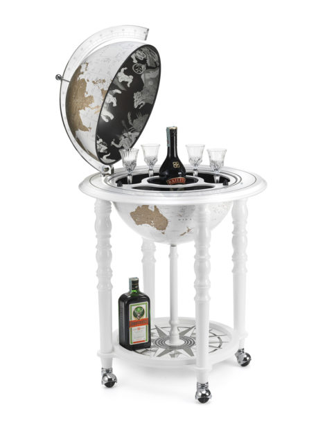 Image of Designer Elegance modern globe bar - white, product photo