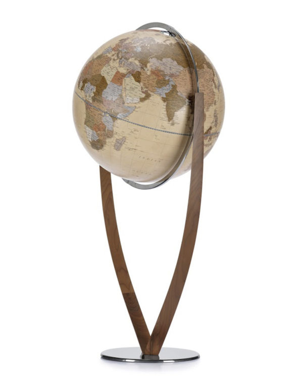 Product photo of Vertigo, an extra large, contemporary world globe. Apricot color.