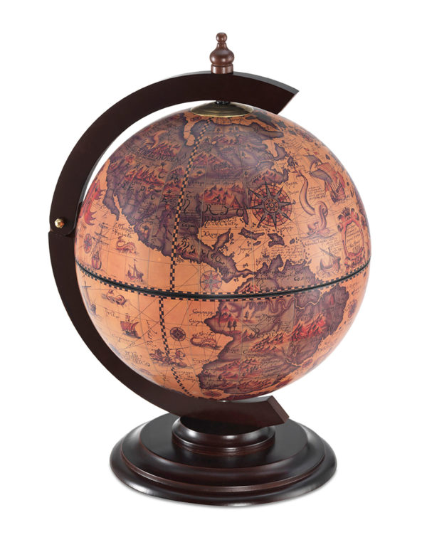Sfera Mini desk top bar globe - ebony, product photo - closed