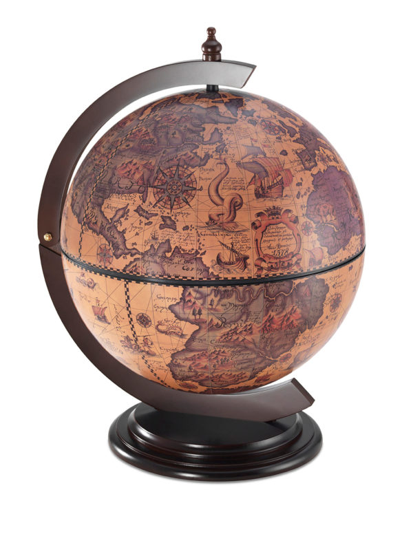 Sfera Small desk top bar globe - ebony, product photo - closed