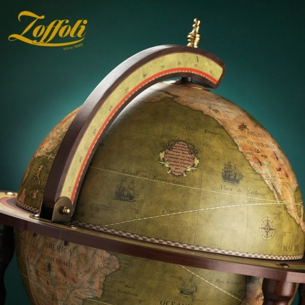 Product image of the olive green Exceptional Explora floor globe bar cabinet - front view