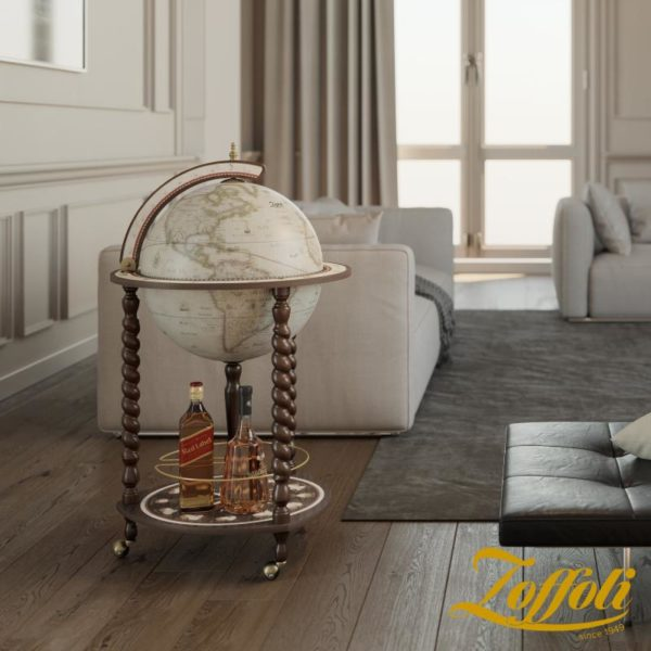 Product image of the antique white Exceptional Explora floor globe bar cabinet - studio closed