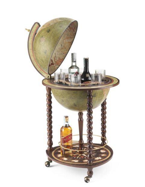 Product image of the olive green Exceptional Explora floor globe bar cabinet - open