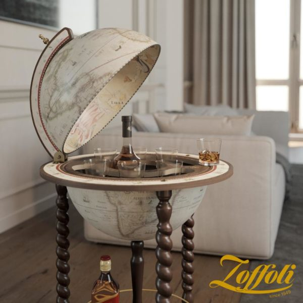 Product image of the antique white Exceptional Explora floor globe bar cabinet - studio open