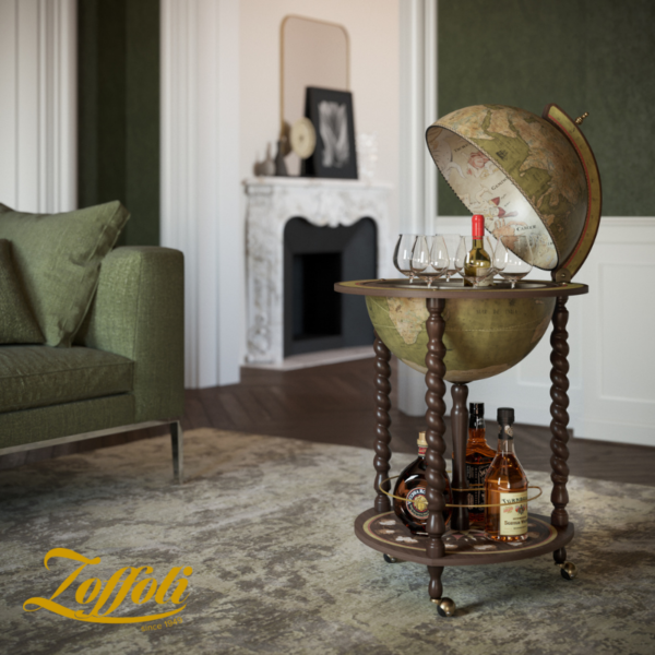 Product image of the olive green Exceptional Explora floor globe bar cabinet - studio