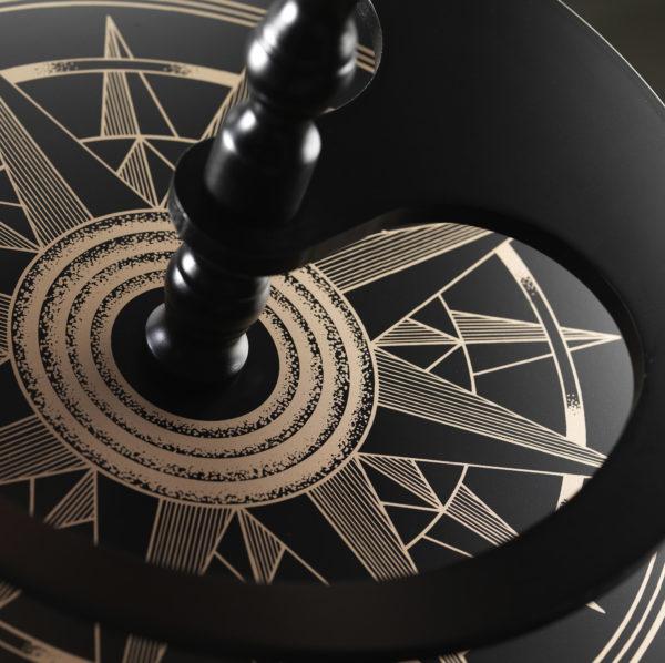 Raven Black Globe Cabinet Vulcano base compass design
