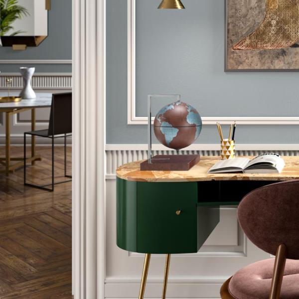 Studio photo of the Quadra Designer Table Globe   Leather