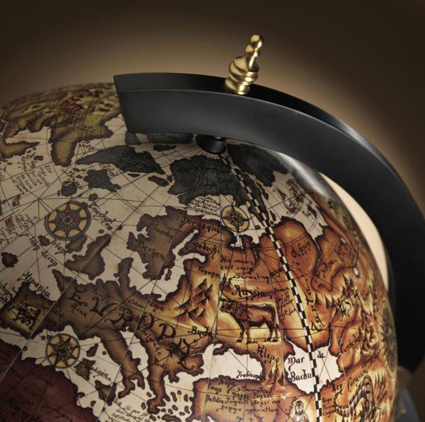 Raven Black Globe Cabinet Vulcano top close-up studio photo