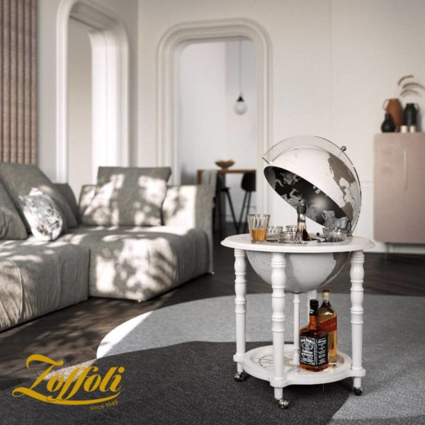 Image of Designer Elegance modern globe bar - white, studio photo with Zoffoli logo